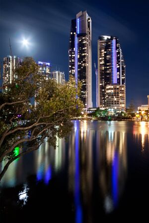 australian modern city at night (gold coast) queensland