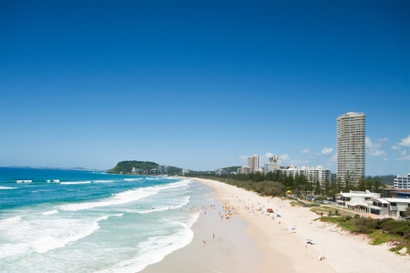 australian beach during the day with buildings beside (burleigh heads,qld)
