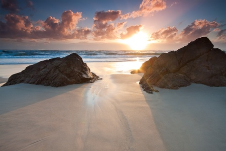 australian seascape at sunrise (miami beach,queensland,australia) photo