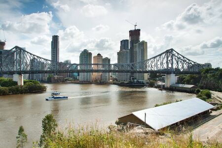 qld: view over the city with big bridge in foreground (story bridge,brisbane,qld,australia) Stock Photo