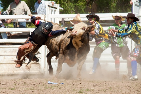 GOLD COAST, AUSTRALIA - JANUARY 26, 2011: Unidentified cowboy falls from dangerous bull on January 26,2011 in Gold Coast, Queensland, Australia. The rodeo show was part of Australia Day celebration.