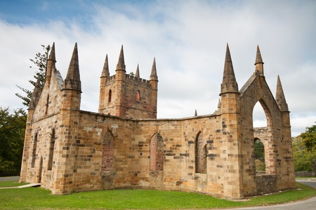 tasmania: ruins of church in port arthur historic jail (Tasmania, Australia) Stock Photo