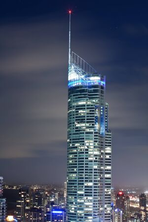 close up of Q1 building at night (gold coast, queensland, australia) Stock Photo