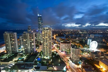 modern city at night viewed from above (gold coast, queensland, australia) photo