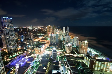 sea scape: modern city at night viewed from above (gold coast, queensland, australia)