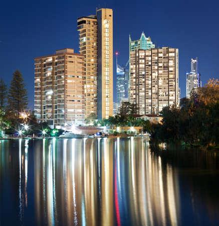 australian modern city at night (surfers paradise,gold coast, queensland, australia) photo