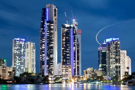 australian modern city at night (gold coast, queensland, australia) photo