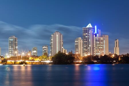 gold coast australia: australian modern city at night (miami beach,gold coast, queensland, australia) Stock Photo