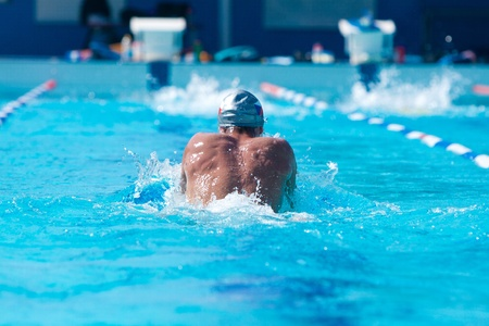 rear view of a swimmer who perform breaststroke on sports competition swimming pool Stock Photo