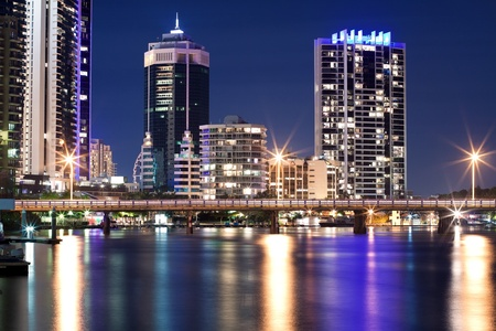 modern australian city at night (gold coast,queensland,australia) photo