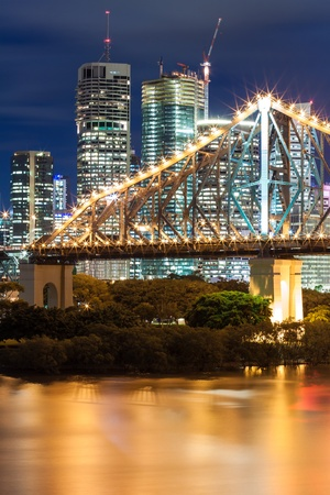 story bridge at night (brisbane, qld, australia) Stock Photo