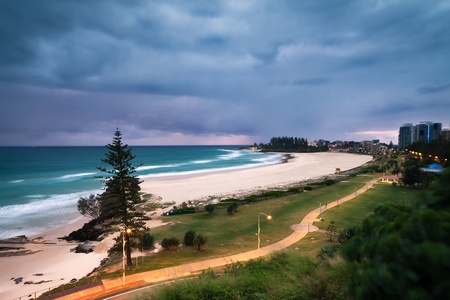 coolangatta beach at dawn (coolangatta, queensland,australia) Stock Photo