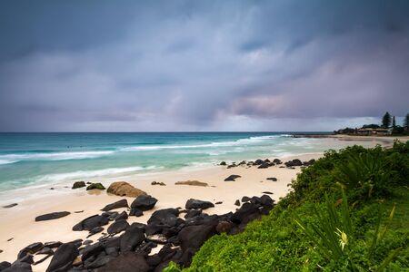 coolangatta: coolangatta beach at dawn from lower perspective (coolangatta, queensland,australia)