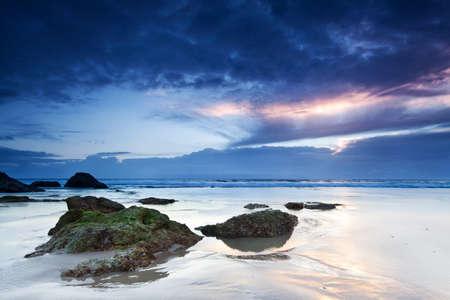 qld: australian seascape at dawn (miami beach, qld, australia) Stock Photo