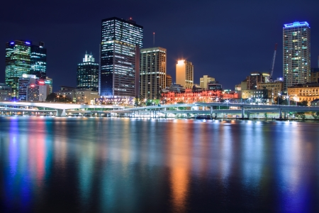 brisbane at night taken from south bank photo