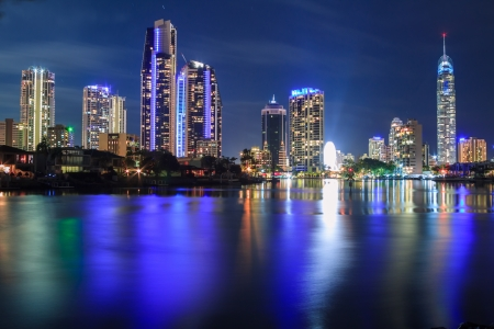 river scape: surfers paradise at night (gold coast, qld, australia)