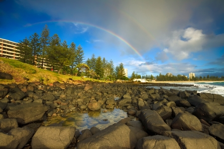 rainbow over burleigh heads (burleigh heads, qld, australia) Stock Photo