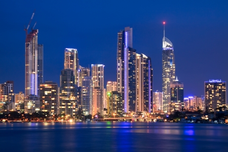 river scape: view on surfers paradise at night (gold coast, qld, australia)
