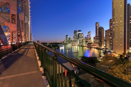 view on brisbane city at night from story bridge (brisbane, queensland, australia)