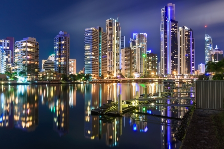 australian modern city at night (gold coast,  queensland, australia) Stock Photo