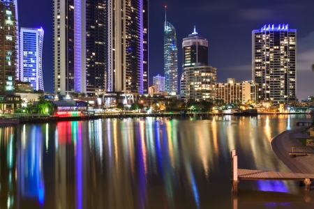 australian modern city at night (gold coast,  queensland, australia) photo