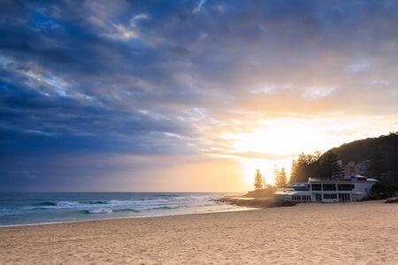 gold coast australia: restaurant by the ocean in Burleigh Heads at sunrise (Gold Coast, QLD, Australia) Stock Photo