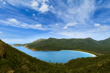bay: Wineglass Bay in Tasmania, Australia during the day Stock Photo