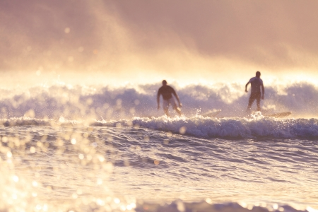 surfers in the morning  in Burleigh Heads  Gold Coast, QLD, Australia