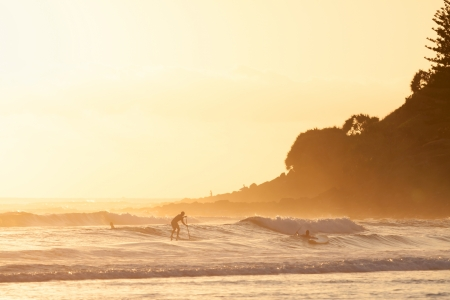Stand up paddle surfing in the morning  in Burleigh Heads  Gold Coast, QLD, Australia