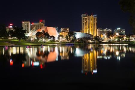 adelaide: View on modern city at night  Adelaide, South Australia, Australia