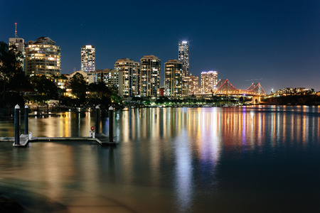 Modern Australian city at night (Brisbane, CBD, QLD, Australia)