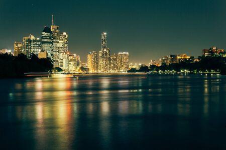 qld: Modern Australian city at night (Brisbane, CBD, QLD, Australia)