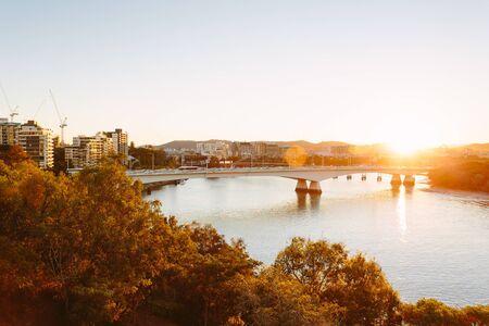 qld: Modern Australian city at sunset (Brisbane, QLD, Australia)