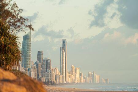 Modern Australian city along the coast (Gold Coast, Surfers Paradise, QLD, Australia)