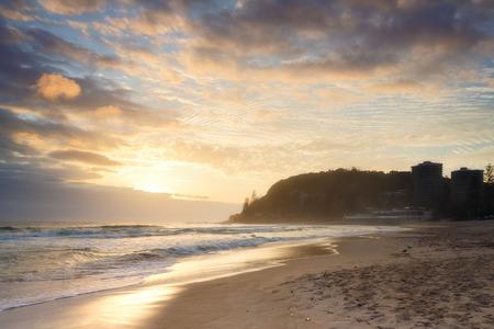 qld: Australian beach at sunrise (Gold Coast, Burleigh Heads, QLD, Australia)