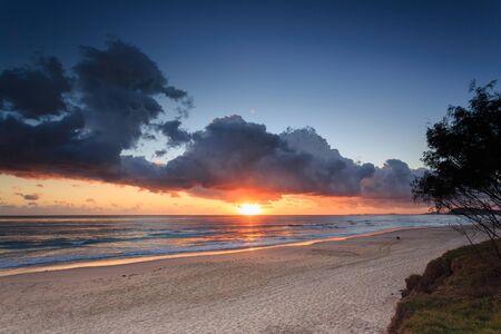 gold coast australia: Australian beach at sunrise (Gold Coast, Mermaid Beach, QLD, Australia)