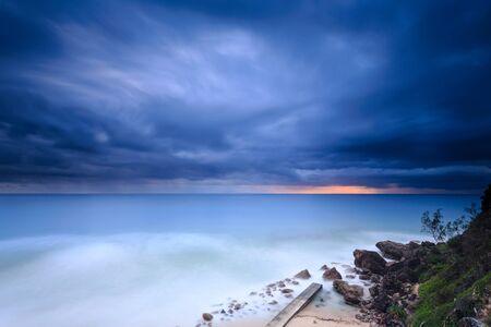qld: Australian beach at sunrise (Gold Coast, Miami Beach, QLD, Australia)