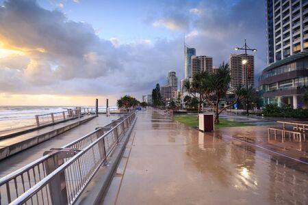 gold coast australia: Australian foreshore early morning (Gold Coast, Surfers Paradise, QLD, Australia)