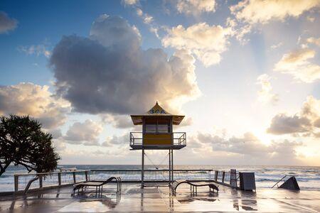 Australian foreshore early morning (Gold Coast, Surfers Paradise, QLD, Australia) Stock Photo