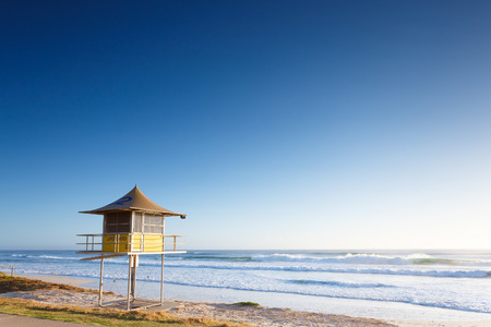 gold colour: Lifeguard tower early morning (Gold Coast, Miami Beach, QLD, Australia)