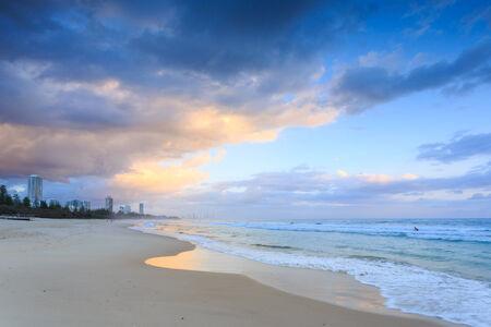 gold coast australia: Australian beach at sunrise (Gold Coast, Burleigh Heads, QLD, Australia)