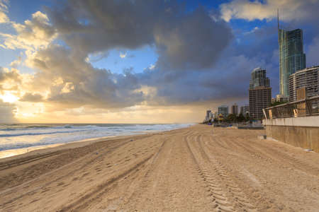 surfers: Australian foreshore early morning (Gold Coast, Surfers Paradise, QLD, Australia)