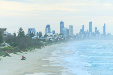 qld: Modern Australian city along the coast view from Burleigh Heads (Gold Coast, Surfers Paradise, QLD, Australia) Stock Photo