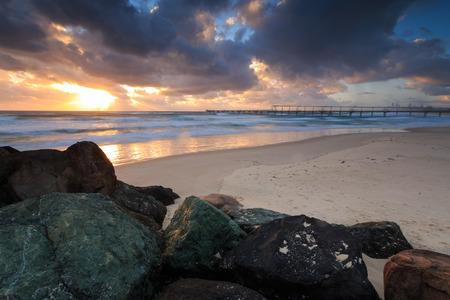 gold coast: Early morning at the Australian beach (Gold Coast, The Spit, QLD, Australia) Stock Photo