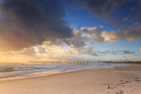 qld: Early morning at the Australian beach (Gold Coast, The Spit, QLD, Australia) Stock Photo