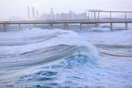 gold coast australia: Early morning at the Australian beach (Gold Coast, The Spit, QLD, Australia) Stock Photo