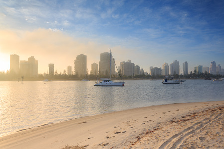 Australian foggy morning along Main Beach suburb  (Gold Coast, Southport, QLD, Australia) Stock Photo