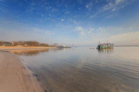 gold coast: Australian foggy morning at Broadwater (Gold Coast, Labrador, QLD, Australia) Stock Photo