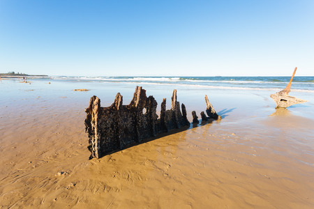 qld: Remains of Dicky wreck as of Feb 2015 (Sunshine Coast, Dicky Beach, QLD, Australia)