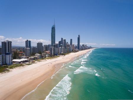 Aerial view of Australian city in Surfers Paradise,Gold Coast,Queensland,Australia